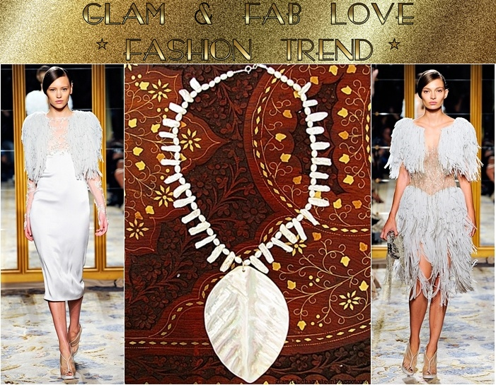 Glam Chameleon Jewelry white mother of pearl necklace with statement pearl pendant