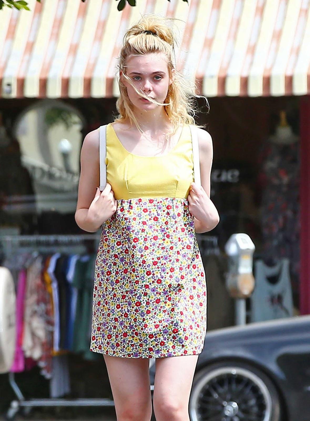 Elle Fanning in a Floral Dress