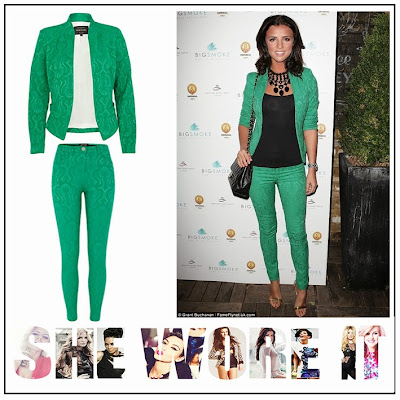 TOWIE, Lucy Mecklenburgh, River Island, Emerald Jewel Green, Green,  Jacquard, Pattern, Cropped, Blazer, Skinny Fit, Trousers