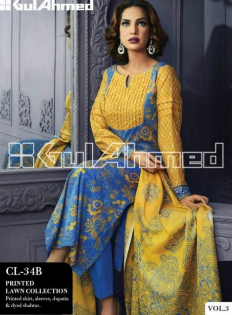Gul ahmed lawn new springs summer dress collection 2014 for Formally designed lawn