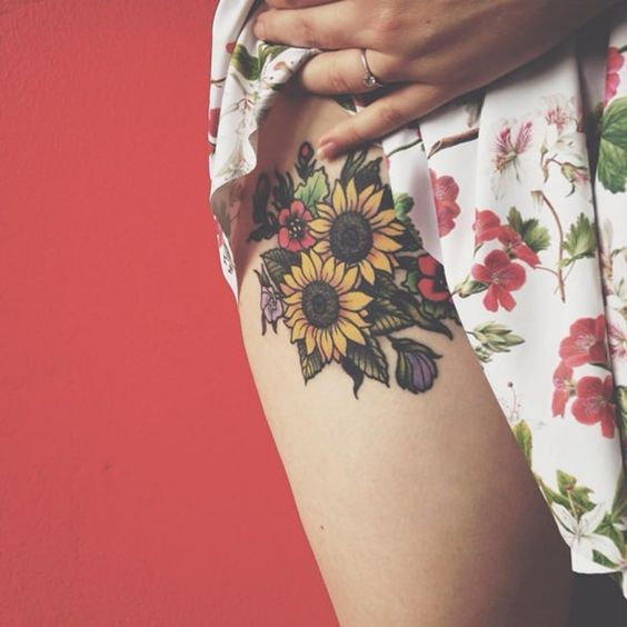 Sexy Sunflower Thigh Tattoo For Girls