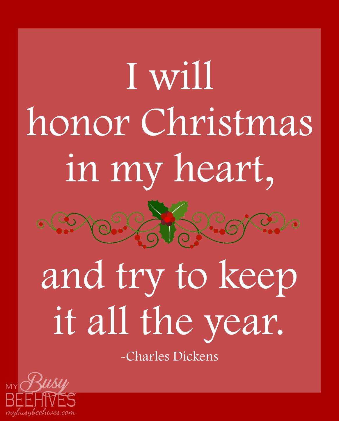 My Busy Beehives...: I Will Honor Christmas in My Heart... {Frame it! Friday}