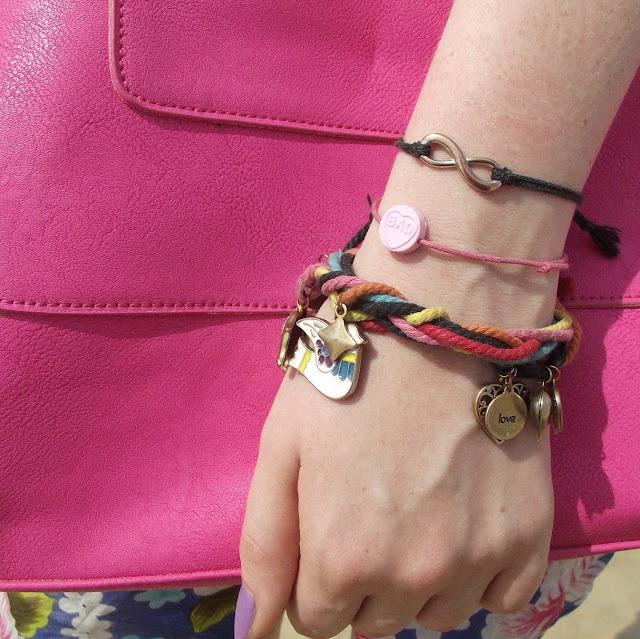 wrist candy, jellybutton jewellery, loveheart bracelet, multicoloured charm bracelet, infinity symbol friendship bracelet