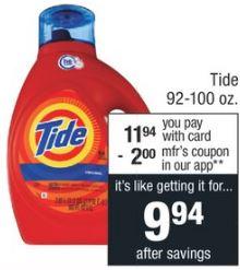 cvs couponers Tide Detergent-92-100 oz