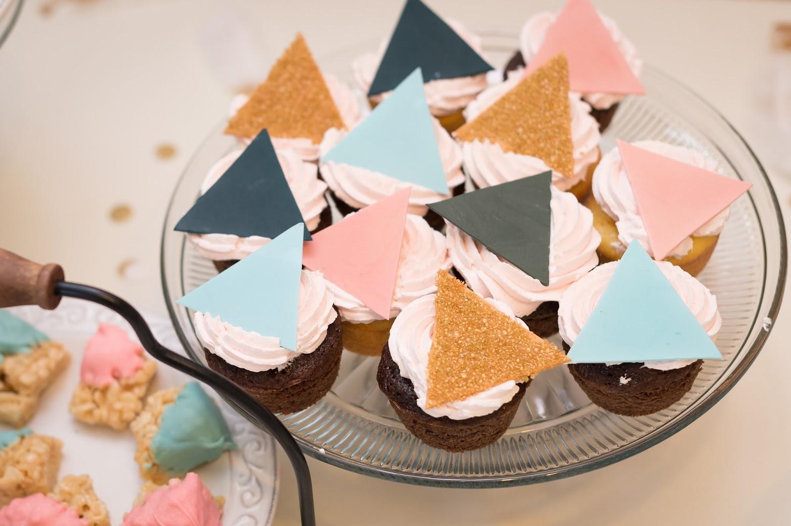 Geometric Cupcakes, Geometric Baby Shower