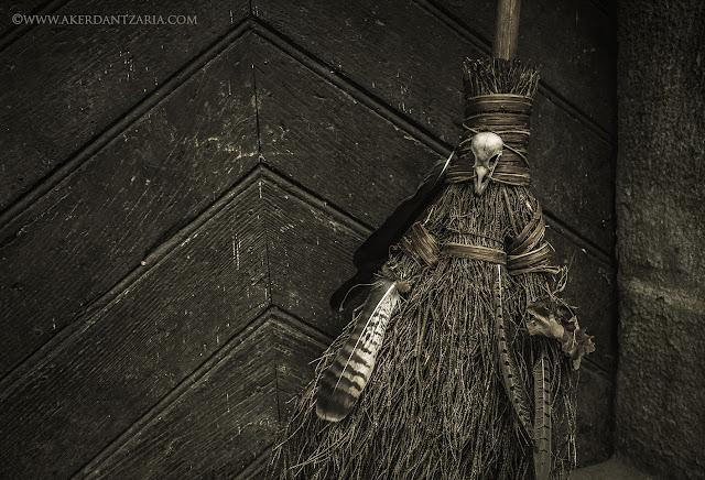 Aker Dantzaria Witch Raven Pagan Broomstick Besom Broom by Victoria Francés