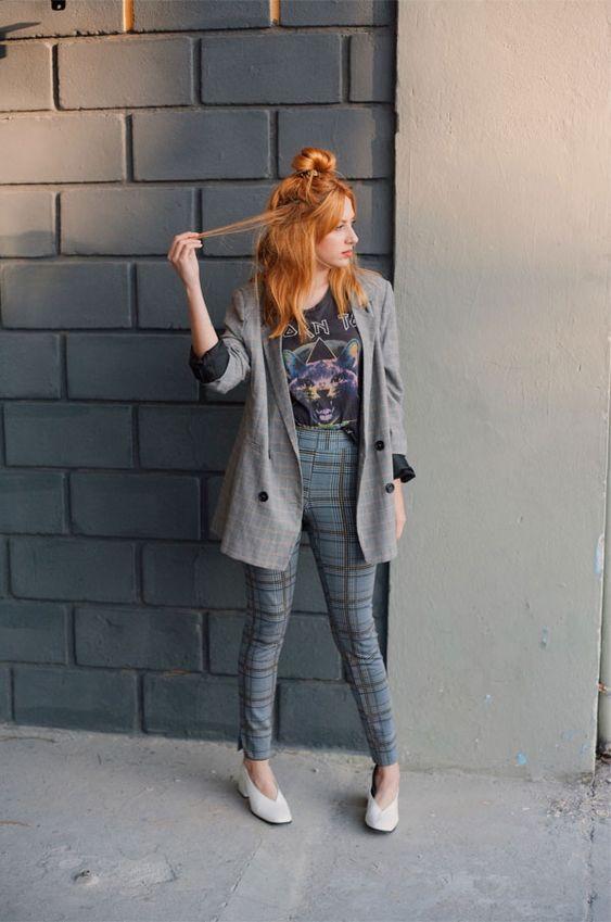 como usar calça alfaiataria xadrez e blazer