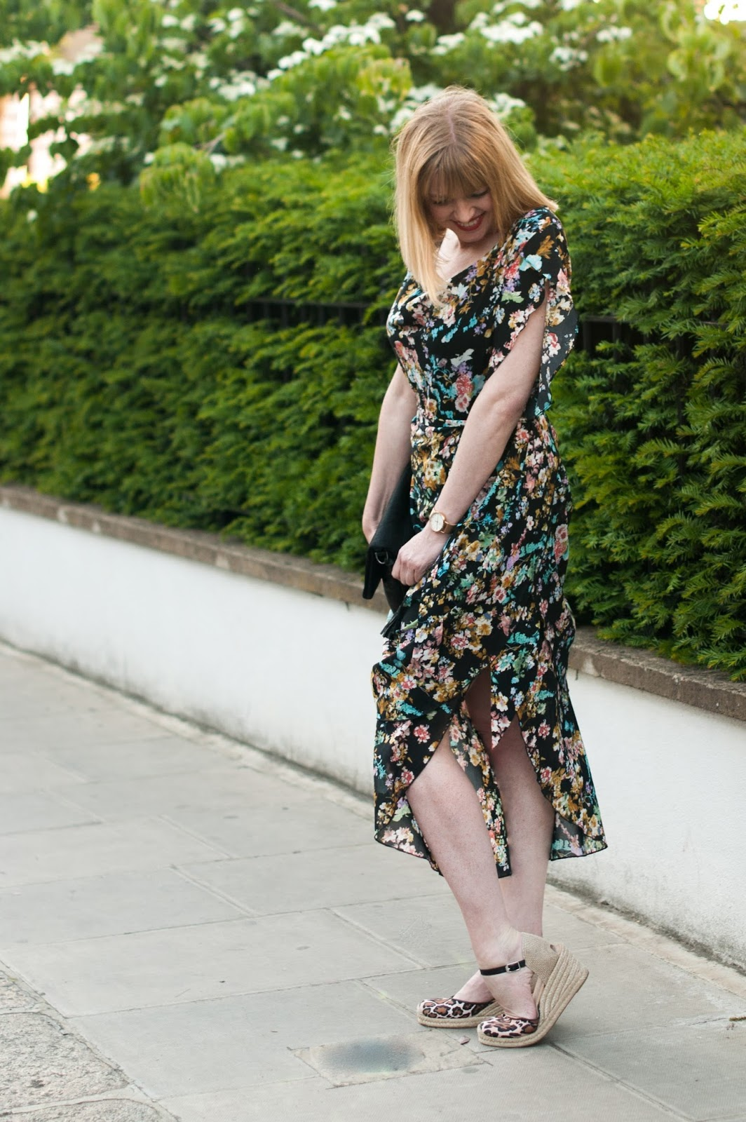 Alice's Pig Floral draped vintage style dress with leopard print espadrilles, over 40 style