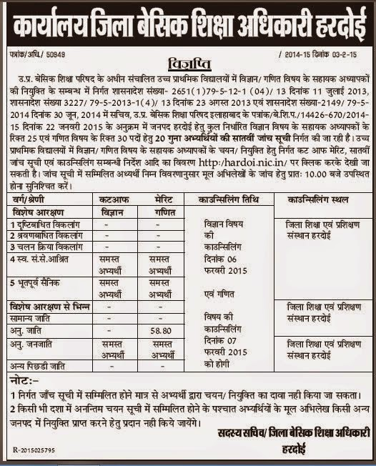 Hardoi JRT UP 29334 Merit list 7th Cut off