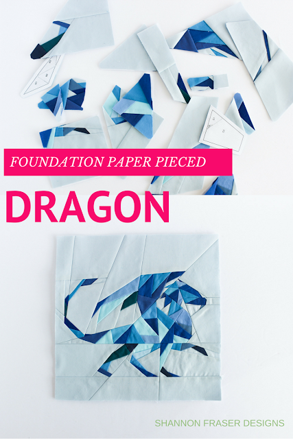 Geometric Quilted Dragon | Foundation Paper Piecing | Shannon Fraser Designs | Kona Cotton | Blue Solids | Quilting Technique | Modern Quilting