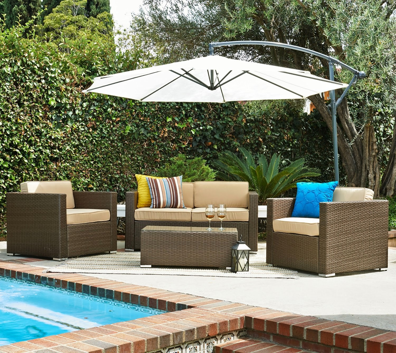 Patio Wicker Sofa Set (Free Cantilever Umbrella!)