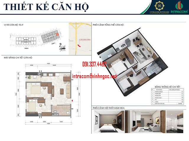 Thiết kế căn hộ Intracom Riverside Nhật Tân Đông Anh hay Intracom 8 Vĩnh Ngọc