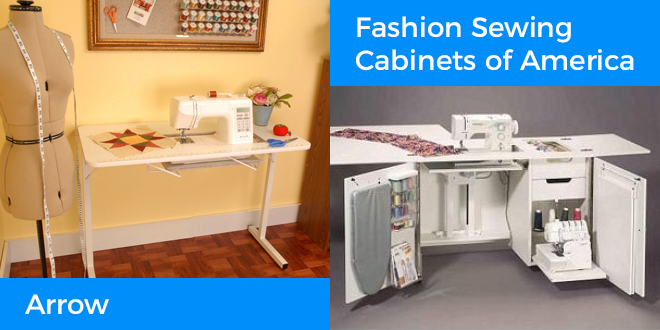 The Arrow Gidget I and Fashion Sewing Cabinets of America 5200 are featured in this sewing table buying guide.