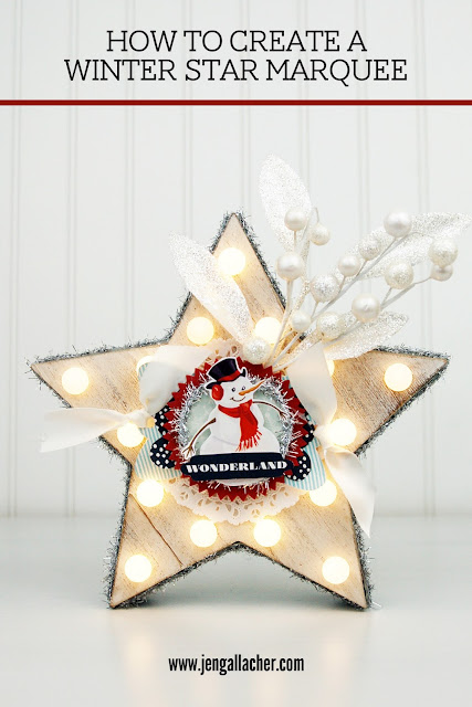 How to create a winter star marquee with Jen Gallacher at www.jengallacher.com. #wintercraft #marquee #starmarquee