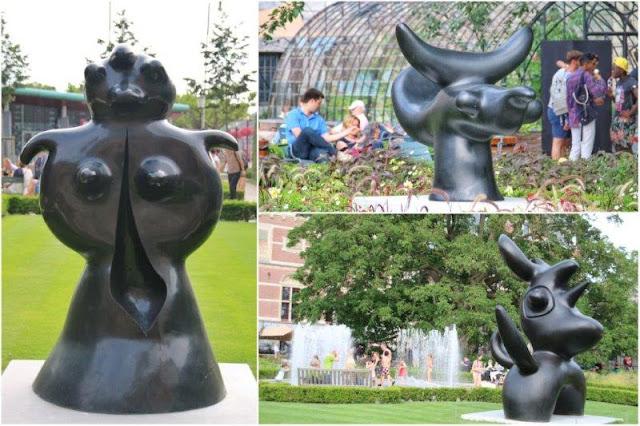 Esculturas de Joan Miro en los jardines del Rijksmuseum en Amsterdam – Mujer de pie, Pajaro solar y Pajaro lunar