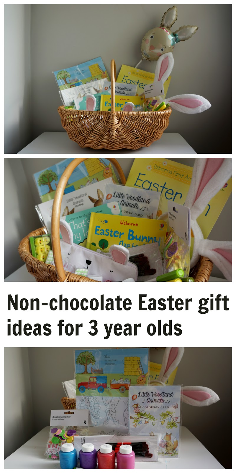 A non-chocolate Easter basket - Easter gift ideas for 3 year olds (also suitable for toddlers and pre-schoolers)