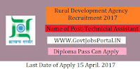 Rural Development Agency Recruitment 2017–Technical Assistant