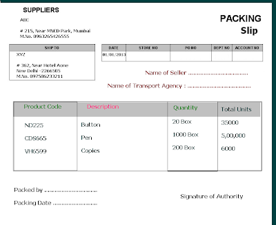Advance Packing Slip Format