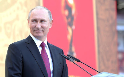 Vladimir Putin at the 2018 FIFA World Cup Trophy Tour kick-off ceremony.