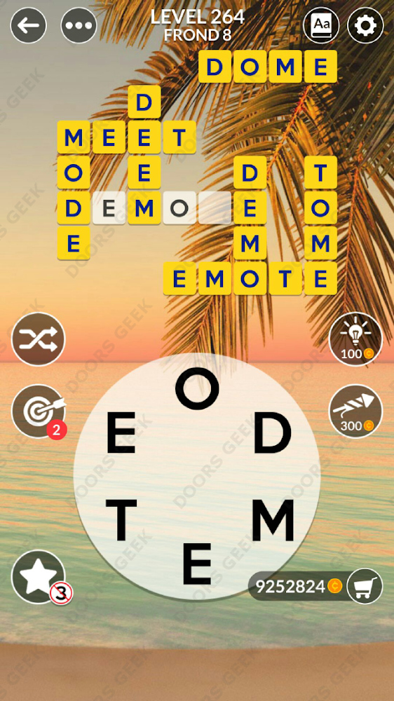 Wordscapes Level 264 answers, cheats, solution for android and ios devices.