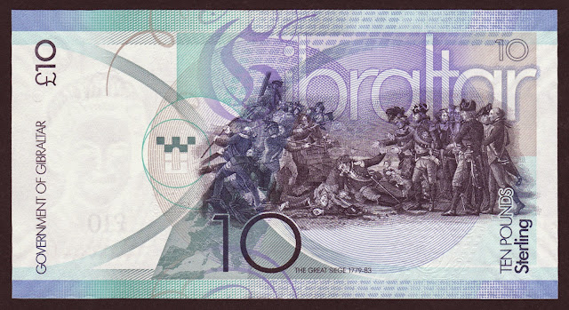"""Gibraltar money currency 10 Pounds banknote 2010 painting """"The Sortie from Gibraltar"""" by John Trumbull, Great Siege of Gibraltar"""