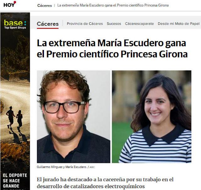 Científica extremeña recientemente galardonada  Guadalupe Sabio