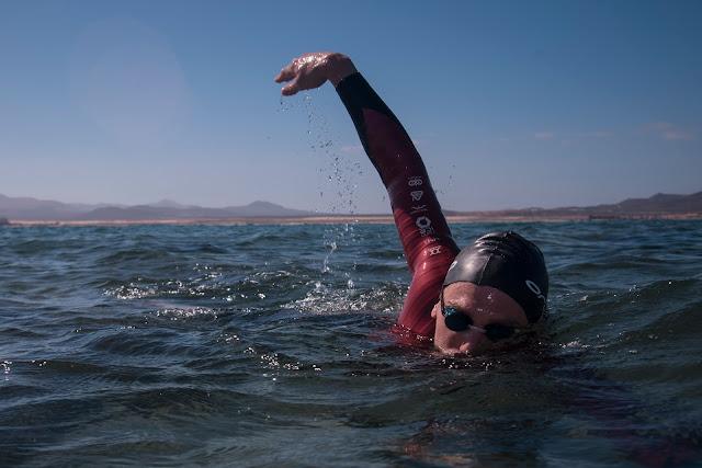 Professional triathlete Andrew Starykowicz on an open-water swim