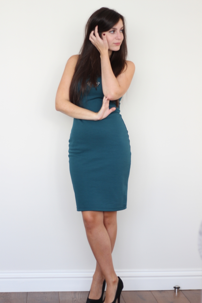 Teal Blue Knee length dress Primark laser cut outs