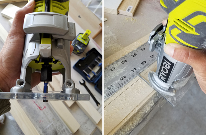 rabetting board to create picture frames using the cordless Ryobi router