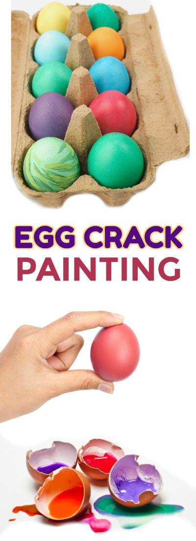 EGG CRACK PAINTING: Tutorial. How to make paint filled eggs.  Then, toss them at canvas for epic kid fun! #paintfilledeggs #eggcrackpainting #kidscrafts #kidsactivities