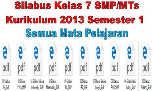 Silabus Kelas 7 SMP/MTs Kurikulum 2013 Semester 1 Semua Mata Pelajaran