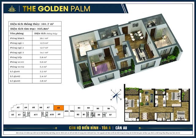 Mặt bằng căn A8 tòa A The Golden Palm