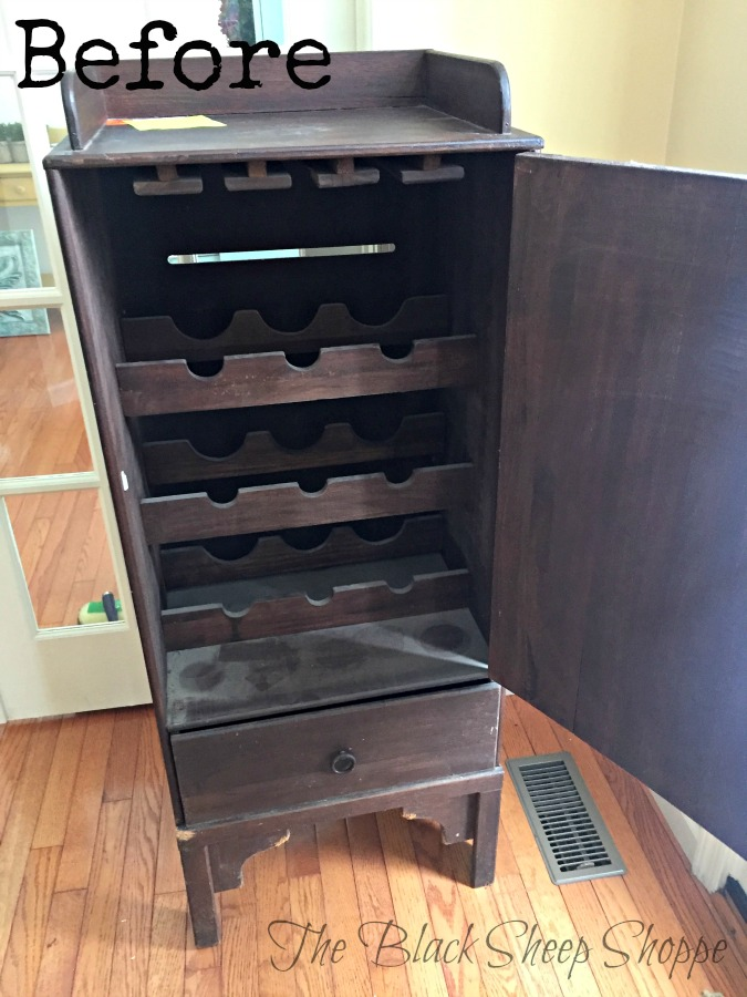 The interior had racks for storing bottles and wine glasses.