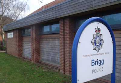 Brigg police station on Barnard Avenue - beside the A18 - picture on Nigel Fisher's Brigg Blog