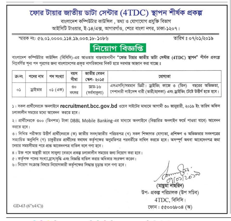 IV Tier National Data Center (4TDC) Job Circular 2019