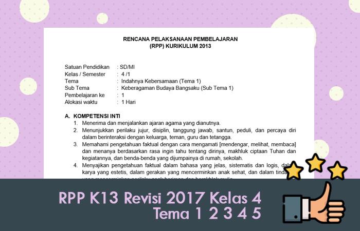 RPP K13 Revisi 2017 Kelas 4 Tema 1 2 3 4 5