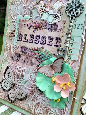 Sara Emily Barker http://sarascloset1.blogspot.com/ Prima Havana Shabby Chic Card #prima #havana #lavender #rosegoldwax #timholtz #3D embossing #botanicaltexturefade 3