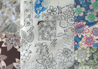 Silk painting and sketch images collage / silko salikeliai ir eskizai, koliazas