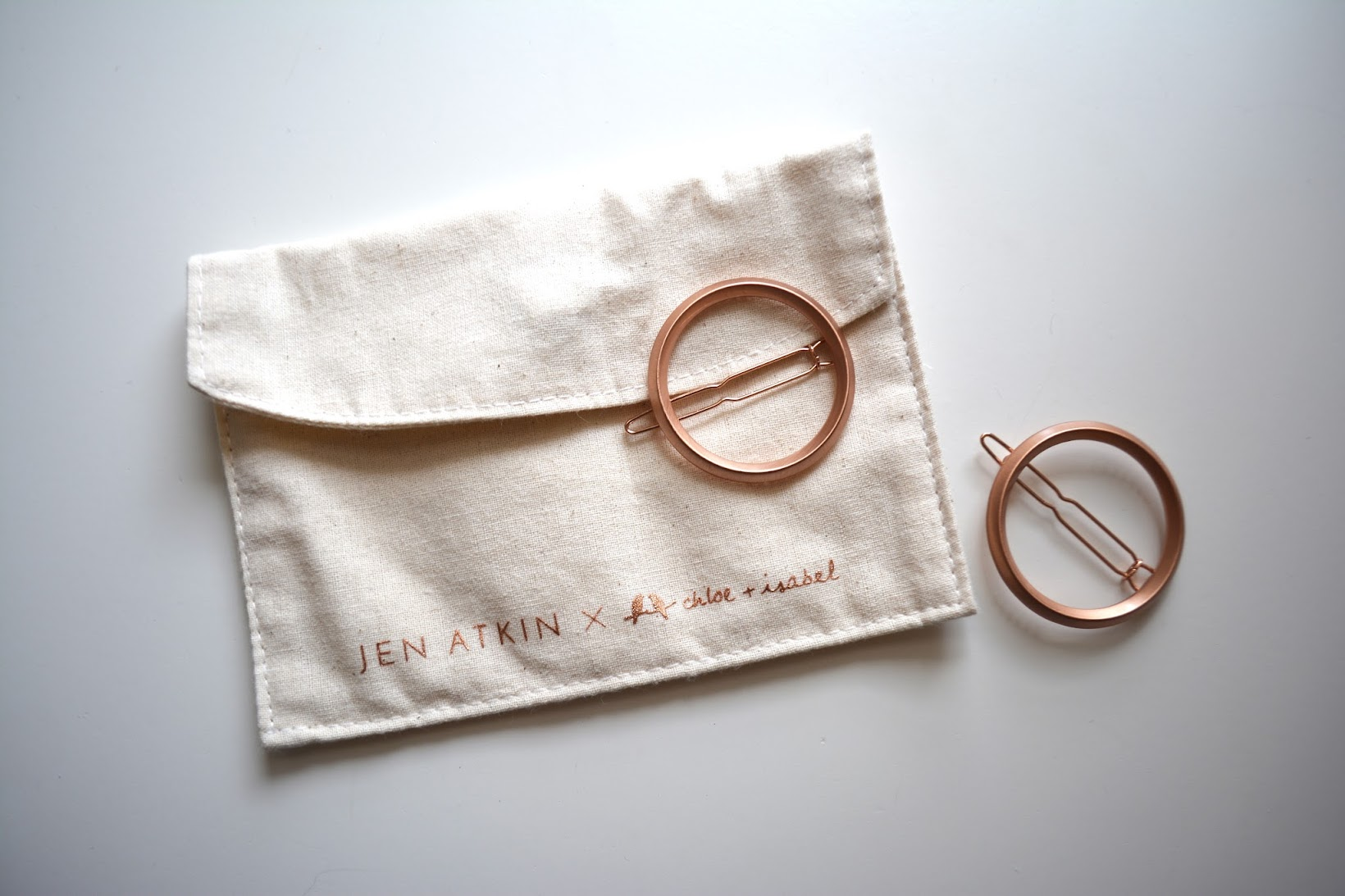 Small Circle Clip Set from Jen Atkin x Chloe + Isabel, rose gold hair clips, rose gold circle hair clips,