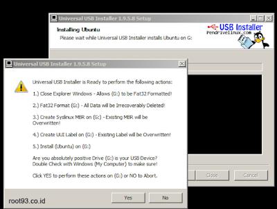 Proses kedua menambahkan linux ubuntu ke flashdisk