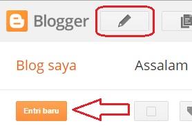 Menulis postingan artikel melalui dashboard blog ini sepertinya yang dilakukan oleh banyak sahabat blogger lainnya. Mengapa??, karena saya sendiri juga menggunakan cara ini, hihihi.... Caranya sih mungkin sadah ketahuan ya?, ya ketahuan jika beberapa kalimat sebelumnya sudah di baca... tapi kalo belum... pastinya belum jelas dan tidak paham kali yah ???.... Yang jelas cara membuat tulisan melalui dashbord ini juga mengharuskan login/masuk di menu dashboard blog sahabat.  Kemudian pada dashboard blog sahabat, di sana juga terdapat icon pensil berada di samping logo dan tulisan Blogger dan ada juga tulisan Entri baru yang berada di bawah tulisan Blog saya, namun memiliki fungsi yang sama.