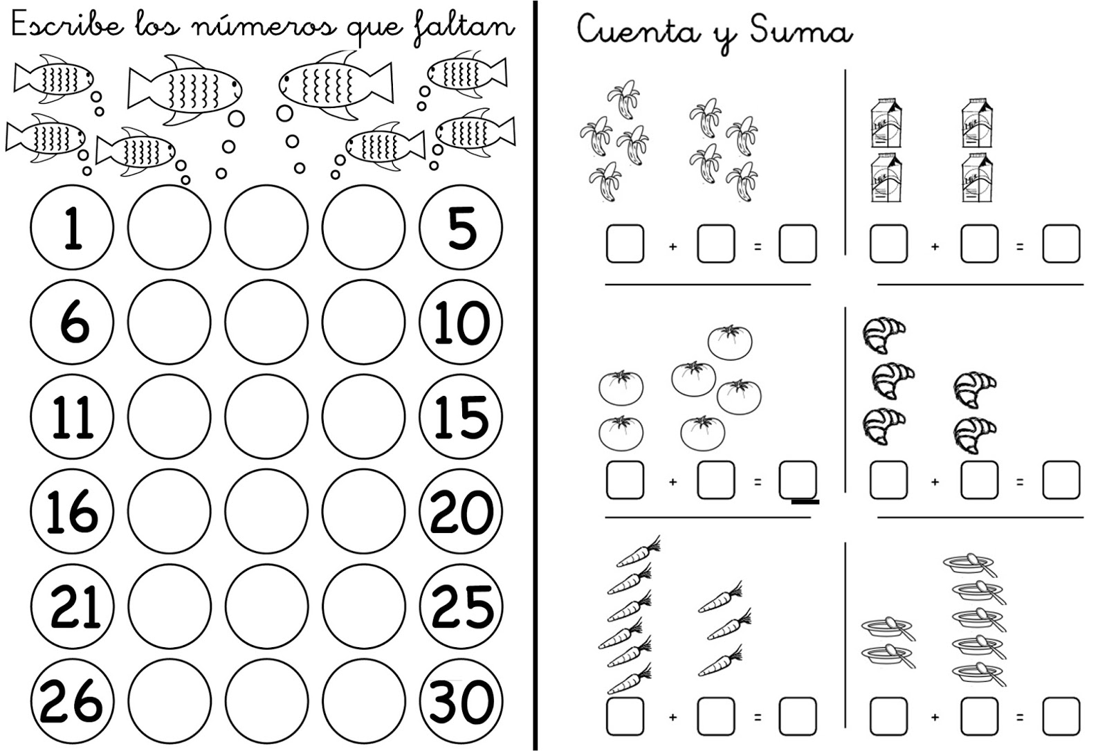 Prim-Erizos: Fichas de Trabajo Matemáticas