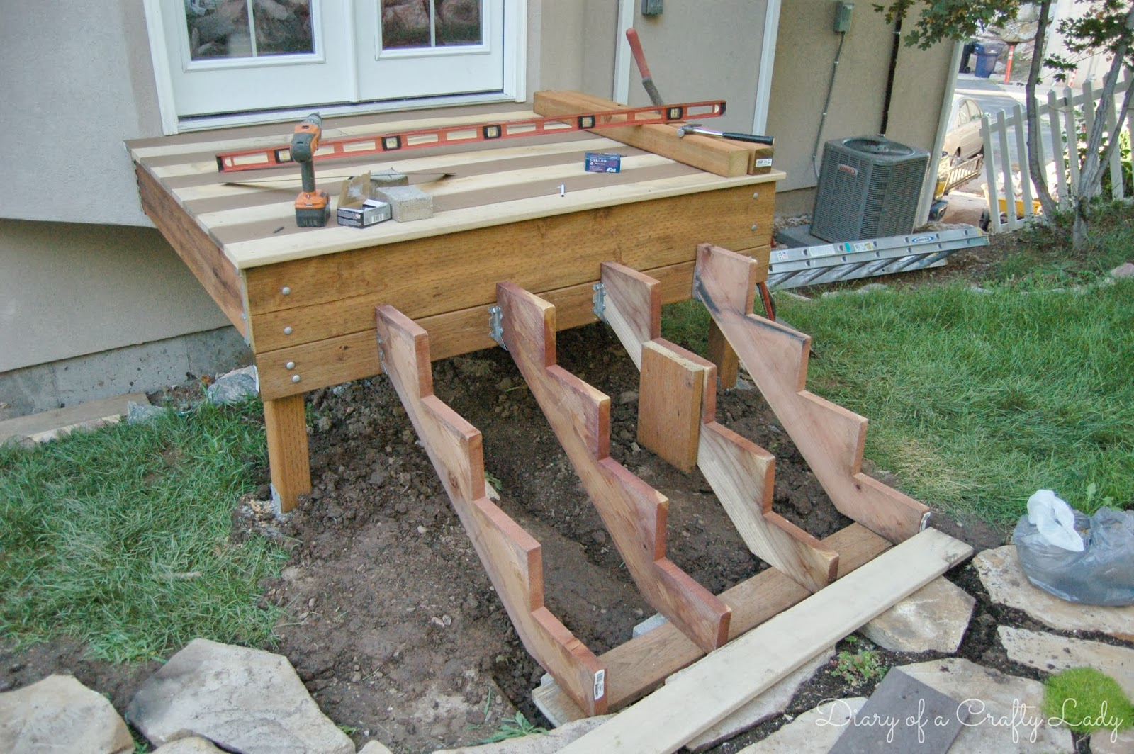 Diary Of A Crafty Lady Building A Deck A Power Tool Project   Making Steps For Decking