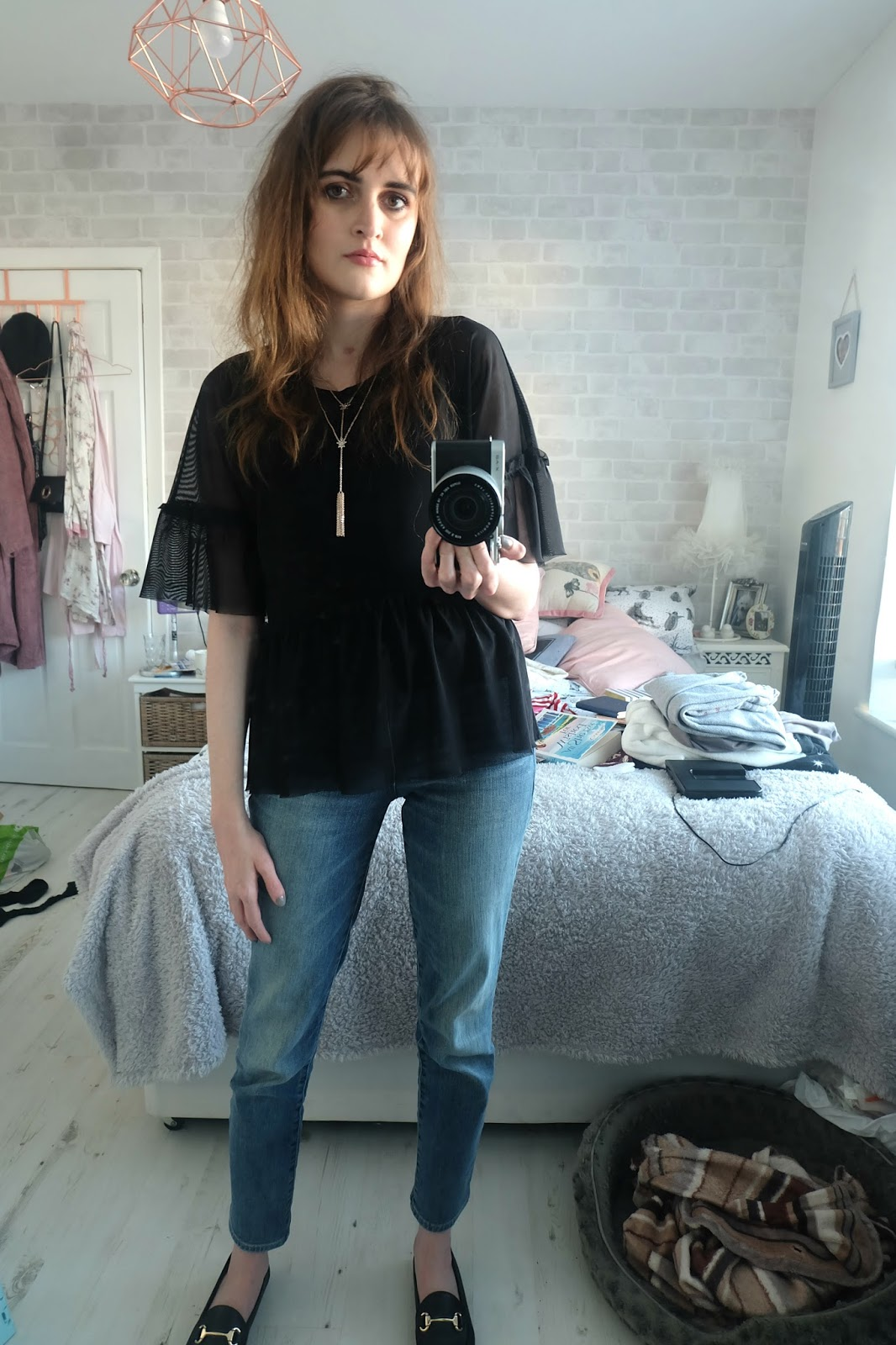 Next Mesh Ruffle Hem Top, Office Destiny Trim Loafers,GAP Real Straight Jeans, All Saints Balfern leather jacket,