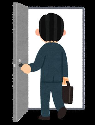 ドアへ入る人のイラスト(男性会社員)