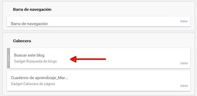 Widget de búsqueda añadido en cabecera
