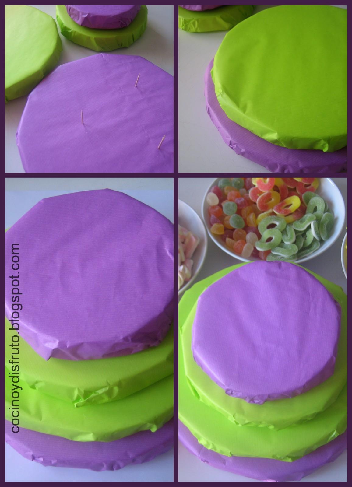 Cocino y disfruto tarta de gominolas ii con paso a paso for Envolver brochetas de chuches