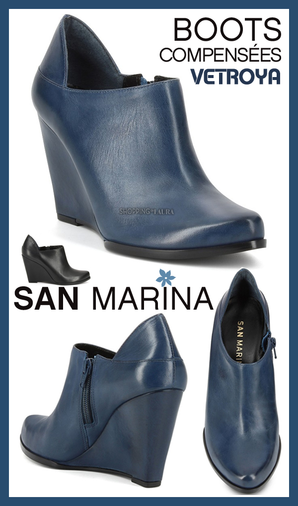 compensées Boots en SAN cuir bleu MARINA QBdxCoeWrE