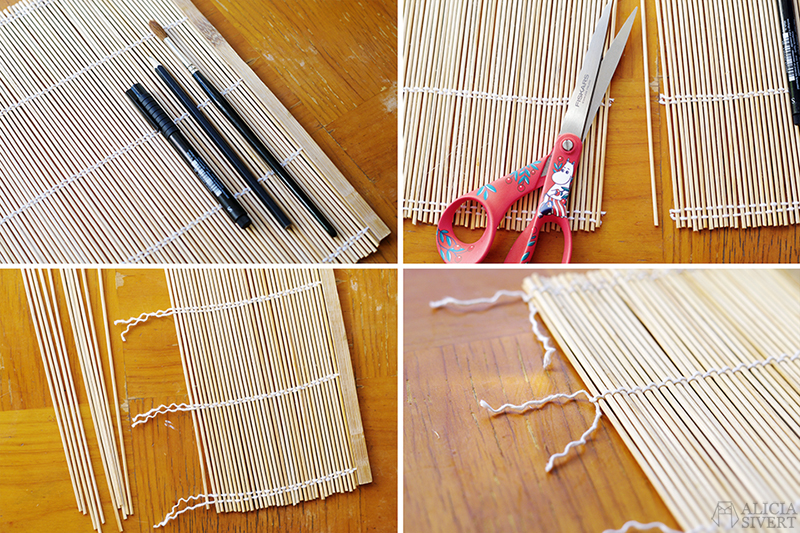 aliciasivert alicia sivert alicia sivertsson diy do it yourself gör det själv step by step steg för steg beskrivning tutorial penselförvaring förvaring pensel penslar brush case roll virknålar virknål stickor stickning virkning knitting needles crocet hook crochet hooks needle sushimatta bordstablett i trä återbruk remake sushi mat makisu förvaringsrulle rulle resa semester friluftsmåleri akvarell akvarellmåleri ta med sig material skapa skapande kreativitet