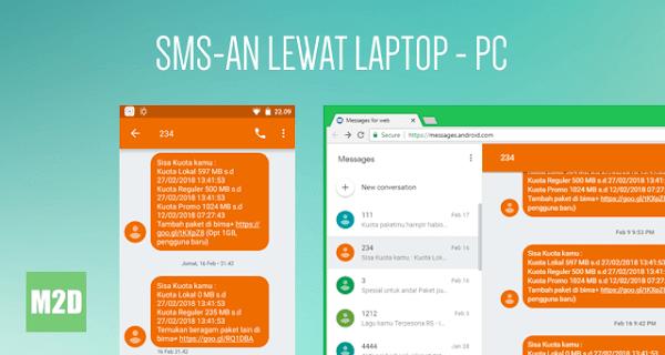 Kirim SMS lewat Laptop/PC dengan Android Messages